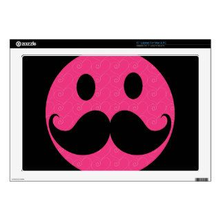 Pink Smiley Face Mustache Moustache Stache Decal For Laptop