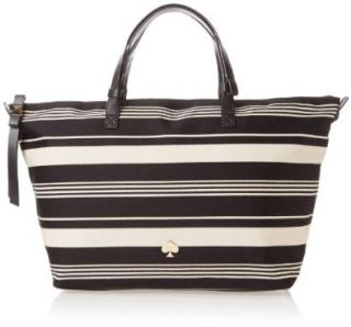 kate spade new york Leroy Street Stripe Helea Shoulder Bag,Black/Clotted Cream,One Size Shoes