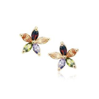 Women's 18K Gold Plated Flower With Five Colors (Blue Brown Red Purple Yellow) Gemstones Stud Earrings Gift E366 Jewelry