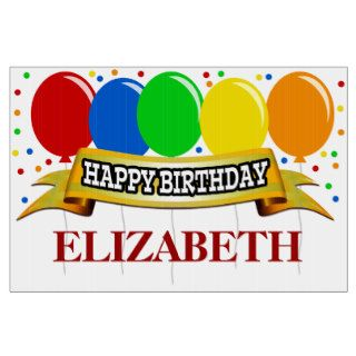 Red Name Personalized Happy Birthday Signs