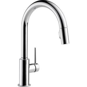 Delta Trinsic Single Handle Pull Down Sprayer Kitchen Faucet in Chrome Featuring MagnaTite Docking 9159 DST