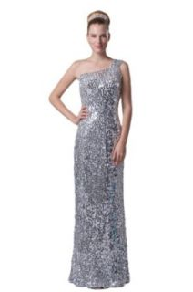 Honeystore Women's One Shoulder Sequin Over Satin Prom Dress