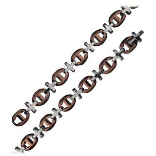 "Inox Mens Stainless Steel Cross Link Brown 22"" Chain Necklace NK30502T 22 Jewelry"