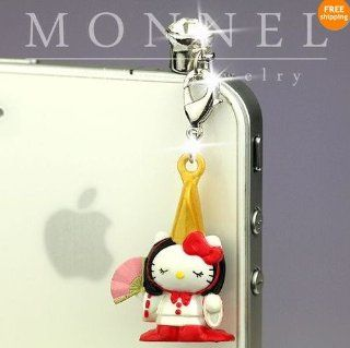 Ip348 Luxury Hello Kitty 3d Charm Anti Dust Plug Cover for Iphone 4 4s Cell Phones & Accessories