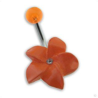 Piercing Navel Ring dangle Flower orange light #402, body jewellery Jewelry