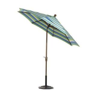 Home Decorators Collection Sunbrella 6 ft. Auto Crank Tilt Patio Umbrella in Seaside Seville Stripe DISCONTINUED 6960320910
