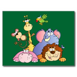 Cute Cartoon Jungle Animals Post Card