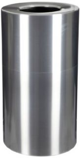 "Witt Industries AL35 CLR Aluminum 35 Gallon Decorative Trash  Can with Rigid Plastic Liner, Round, 18"" Diameter x 32"" Height, Clear Coat"