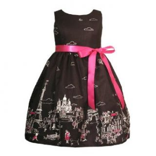 Rare Editions Girl 2T 6X BLACK WHITE FUCHSIA PINK Paris Europe Motif BORDER PRINT Special Occasion Wedding Flower Girl Easter Party Dress   6X Clothing