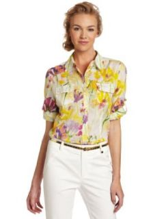 Calvin Klein Women's Printed Button Up Roll Sleeve Shirt, Tulip Multi, Small
