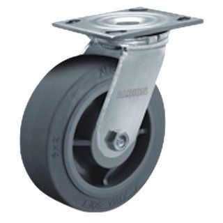 "Albion 16 Series 5"" Diameter X tra Soft Flat Tread Wheel Medium Heavy Duty Zinc Plate Swivel Caster, Roller Bearing, 4 1/2"" Length X 4"" Width Plate, 375 lbs Capacity (Pack of 4)"