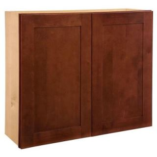 Home Decorators Collection Assembled 30x36x12 in. Wall Double Door Cabinet in Kingsbridge Cabernet W3036 KCB