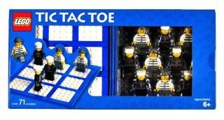 Lego Year 2006 Board Game Set #4499574   TIC TAC TOE with Playing Board, Baseplate, Storage Case, 5 Policeman Minifigures and 5 Robber Minifigures (Total Pieces 71)