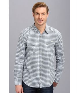 Lucky Brand Fremont Western Shirt Mens Long Sleeve Button Up (Blue)