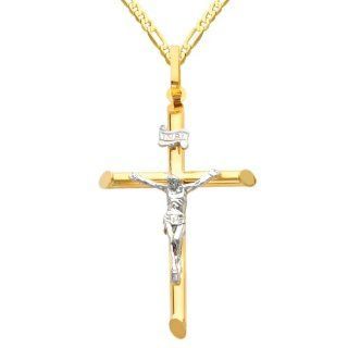 14K Yellow and White Gold 2 Two Tone Gold Crucifix Cross Charm Pendant with Yellow Gold 2.3mm Figaro Chain Necklace with Lobster Claw Clasp   Pendant Necklace Combination (Different Chain Lengths Available) The World Jewelry Center Jewelry
