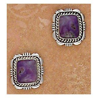 Southwestern Native American Handmade Sugilite and Sterling Silver Square Post Earrings, #TP117 Stud Earrings Jewelry
