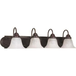 Glomar Ballerina 4 Light Old Bronze Vanity with Alabaster Glass Bell Shades HD 326