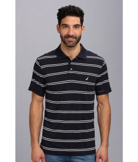 Nautica Stripe Tech S/S Pique Polo Shirt Mens Short Sleeve Pullover (Navy)
