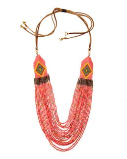Tribal Layered Necklace, Pink Mix