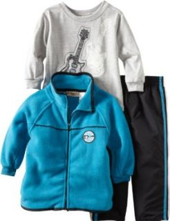 Kids Headquarters Boys 2 7 Winter Fleece Open Front Jacket With Long Sleeve Tee And Pant Set, Blue/Gray, 2T Clothing