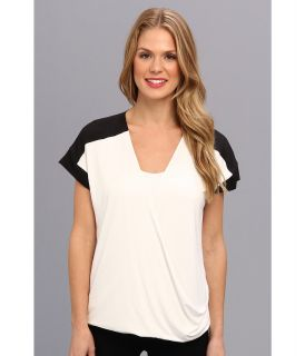 Calvin Klein S/S Faux Wrap Top Womens Short Sleeve Pullover (White)