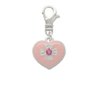 Pink Enamel Heart with Silver Cross and Crystal Clip On Charm [Jewelry] Delight Jewelry Jewelry