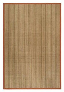 Safavieh Natural Fibers Collection NF442B Rust and Natural Sissal Area Rug, 5 Feet by 8 Feet   Sisal Red Border Rugs Non Slip