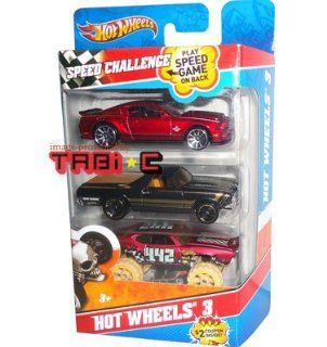 2010 2011 Hot Wheels 3 Pack Cars Speed Challenge '10 FORD SHELBY GT500 SUPER SNAKE (Red), '68 EL CAMINO (Black w/gold stripe), OLDS 442 LIFTED (Satin Red)