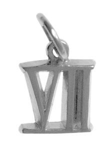 "Roman Numeral Pendant for All Occasions, #407.7, 9/16"" Tall w/Loop, Ster. #VII Jewelry"