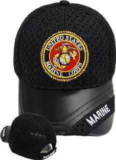 Marines Baseball Cap BLACK Hat with United States U.S. Marine Corp Logo and Leather Bill United States Military Headwear, Semper Fi Spirit
