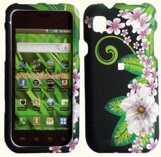Light Pink Flower with Green Pedal Leaf on Black Snap on Hard Skin Shell Protector Cover Case for Samsung Vibrant T959 + Microfiber Pouch Bag + Case Opener Pick Cell Phones & Accessories