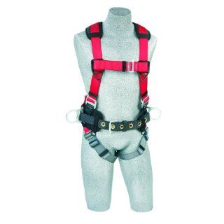 Protecta PRO, 1191226 Fall Protection Full Body Harness, Back And Side D Rings and Pass Thru Legs, 420 Pound Capacity, Small, Red/Gray   Fall Arrest Safety Harnesses