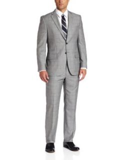 Joseph Abboud Men's Super 150'S Wool Windowpane Suit With Flat Front Pant at  Men�s Clothing store Business Suit Pants Sets