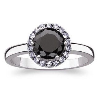 Sterling Silver Black & White Cubic Zirconia CZ Halo Ring Jewelry