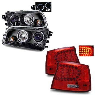 06 08 Dodge Charger Black LED Halo Projector Headlights + LED Tail Lights Combo Automotive