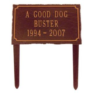 Whitehall Products Slate Pet Antique Copper Three Line Lawn Memorial Plaque 1445AC