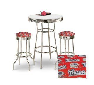 "36"" Tall Chrome Bar Table & 2 New England Patriots NFL Fabric Seat Barstools   Home Bars"