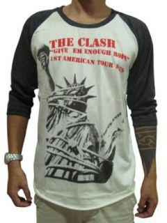 Bunny Brand Men's The Clash American Rock Music Band Raglan T Shirt Clothing