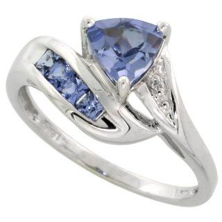 10k White Gold Trillion Ring, w/ Brilliant Cut Diamonds & Lab Created Light Tanzanite Stones, 3/8 in. (10mm) wide Jewelry