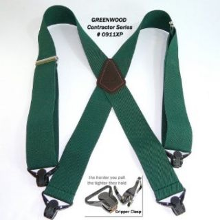 Heavy Duty Greenwood Green Work Suspenders w/ Gripper Clasps at  Men�s Clothing store