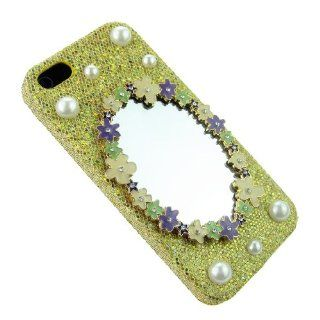 FiMeney Luxury Crystal Flower Make Up Mirror Pearls Gold Shining Back Hard Case Cover Shell for Iphone 5 5g 5th 5S + Cleaning Cloth + 2013 Calendar Card + Pink Stylus Pen + Butterfly And Flower Dust Plug Cell Phones & Accessories