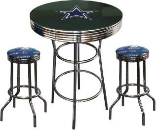 Dallas Cowboys Logo NFL Football Glass Top Chrome Bar Pub Table Set with 2 Swivel Bar Stools   Home Bars