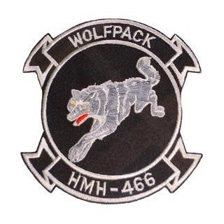 USMC Marine Corps Military Embroidered Iron On Patch   Wolf Pack HMH 466 Applique Clothing