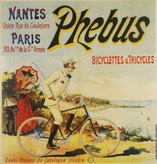 "Bicycle Bike Cycles Phebus Beach Bicyclettes Tricycles French France 23"" X 24"" Size Vintage Poster Reproduction   Prints"