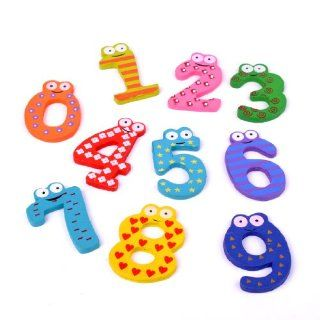 Funny Wooden Cartoon Fridge Magnet 0 9 Numbers Set Toy Safety for Baby Kids Toys & Games