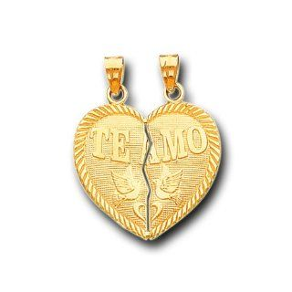 14K Solid Yellow Gold Te Amo Heart Split Charm Pendant IceNGold Jewelry