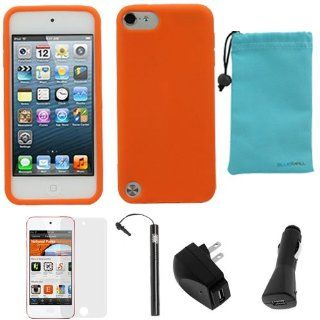 BIRUGEAR 6 Items Essential Accessories Bundle kit for Apple iPod Touch 5, iPod Touch 5G, 5th Generation  Player   Orange Silicone Case Cover included   Players & Accessories