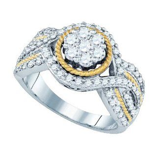 10K Two Tone White and Yellow Gold 0.99 TCW Diamond Flower Ring Will Ship With Free Velvet Jewelry Gift Box Wedding Bands Jewelry