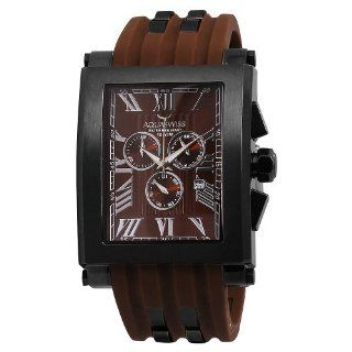 Aquaswiss 64XG015 Chronograph Black Stainless Steel Case Brown Silicon Strap XL Watch Watches