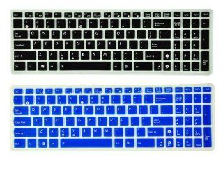 BOMAN 2 Pack  Translucent Silicone Laptop Keyboard Skin Cover Protector for ASUS N50 N51 N53J K50 K51 F50 X5X X5DC X5D A52N61VG M60 F61 X61 X66 F70 K70 N70 N73 A72 A53 K53 A52J N53S X53 A52J N73J N61J K52J US (BLACK & BLUE) Computers & Accessories